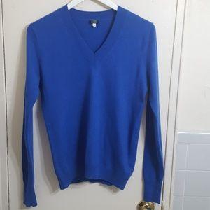J.crew Blue V-neck Cashmere Sweater Size Small